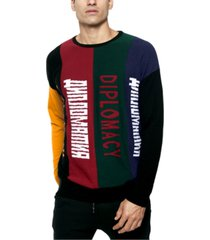 diplomacy men's regular-fit colorblocked logo panel sweatshirt