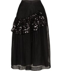 sequin ruffle tulle skirt