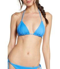 women's luli fama triangle bikini top, size large - blue