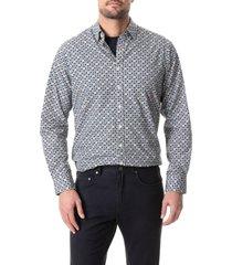 men's rodd & gunn ormiston regular fit floral cotton button-up shirt, size x-large - white