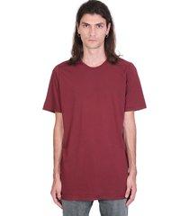 drkshdw level tee t-shirt in bordeaux cotton