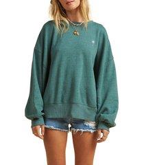 women's billabong x the salty blonde vacation mode oversize sweatshirt, size large - green