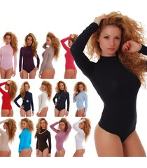 cotton women bodysuit turtle mock neck long sleeve thong 1337 leotard body lady