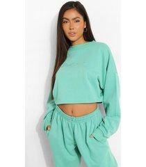 woman korte geborduurde sweater, jade