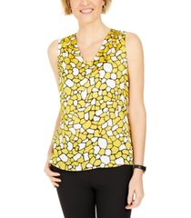 kasper petite geometric-print sleeveless top