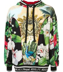 dolce & gabbana tropical king and orchid print hoodie - multicolour