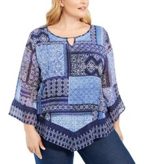alfred dunner plus size autumn harvest patchwork blouse