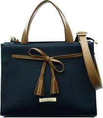 bolsa maria verônica quadrada laço couro cor azul/marrom 5129
