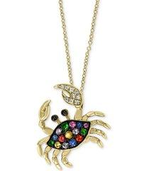 """effy multi-sapphire (1/4 ct. t.w.) & diamond (1/20 ct.t.w.) crab 18"""" pendant necklace in 14k gold"""