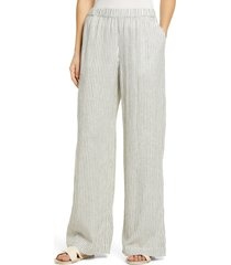 women's caslon linen blend wide leg pants, size medium - ivory