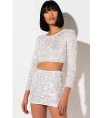 akira snow down sequin mini skirt