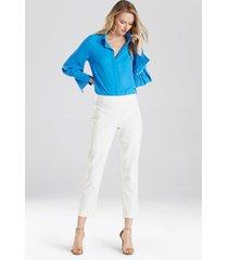 natori solid jacquard pants, women's, white, size 2 natori