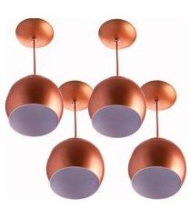 kit 4 lustres pendente bola pequena alumínio 15cm cobre