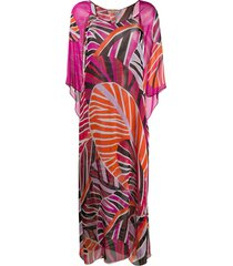 emilio pucci graphic-print beach maxi-dress - pink