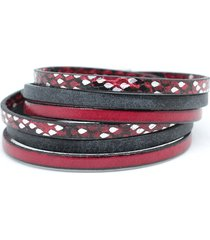 bransoletka unisex z rzemieni czerwono-czarna
