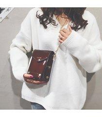 tracolla in pelle ecopelle con tracolla chic borsa in vernice nera borsa