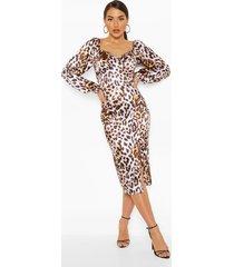 leopard stretch satin square neck midi dress, leopard