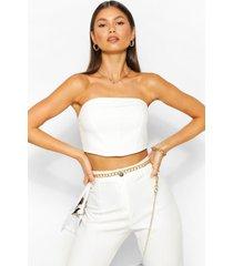 tailored seam detail bandeau top, white