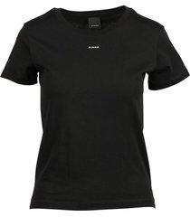 t-shirt met halve mouw, ronde hals, contrasterend micro-logo op de borst.