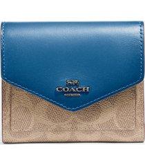 coach women's colorblock signature small wallet - tan/denim