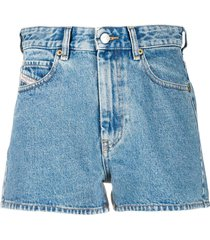 diesel high rise straight leg shorts - blue