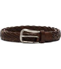 brunello cucinelli woven buckle belt - brown