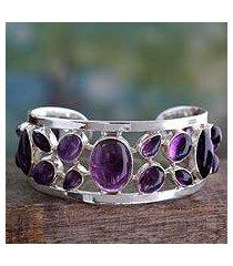 amethyst cuff bracelet, 'purple harmony' (india)
