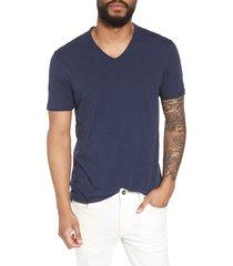men's john varvatos star usa slim fit slubbed v-neck t-shirt, size x-large - blue