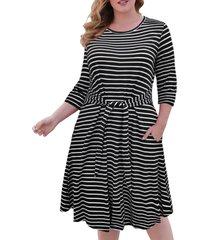 contrast stripes tie waist casual plus size dress