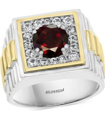 effy men's rhodolite garnet ring (2-1/4 ct. t.w.) & white sapphire (3/4 ct. t.w.) in sterling silver & 18k gold-plate