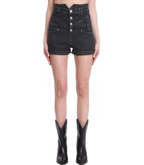 isabel marant diroysr shorts in black denim