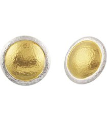 amulet round stud silver earrings