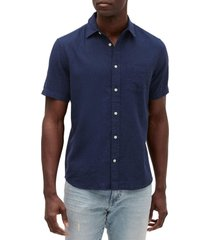 camisa lino blend manga corta azul oscuro gap
