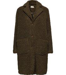 balma teddy coat- min 4 pcs outerwear faux fur groen kaffe