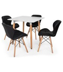 kit mesa jantar eiffel 80x80 branca + 04 cadeiras slim - preta