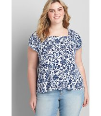 lane bryant women's convertible square-neck peasant swing tee 34/36 lucky loops