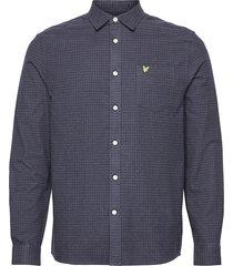 brushed cotton tweed check shirt overhemd casual blauw lyle & scott