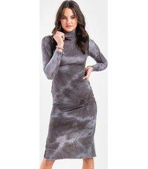 lexie tie dye midi dress - charcoal