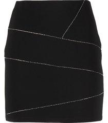 patrizia pepe rhinestone embellished slim cut skirt - black