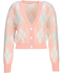 alessandra rich argyle wool cropped cardigan with hotfix crystals