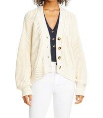 women's la ligne chunky cotton cardigan sweater, size large - ivory