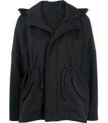 pleats please issey miyake toggle waist hooded light jacket - black