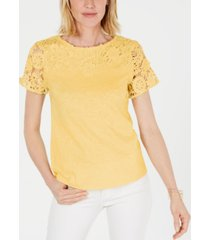 charter club cotton lace-embellished t-shirt, created for macy's