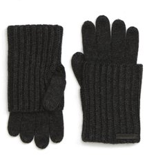 women's allsaints ribbed cuff convertible gloves, size one size - black