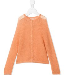 il gufo open knit sweater - orange