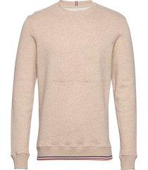 embossed sweatshirt sweat-shirt trui beige les deux