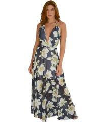 vestido festa doha estampado - azul marinho - feminino - poliamida - dafiti