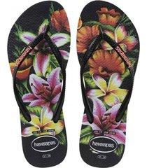 sandalias chanclas havaianas unisex negro slim floral