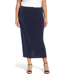 plus size women's vikki vi stretch knit straight maxi skirt, size 1x - blue