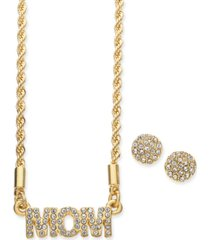 charter club gold-tone crystal mom pendant necklace & stud earrings set, created for macy's